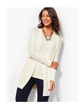 Pointelle Open Front Cardigan by Talbots