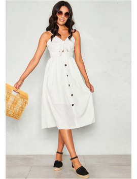 Honey White Tie Front Button Dress by Missy Empire