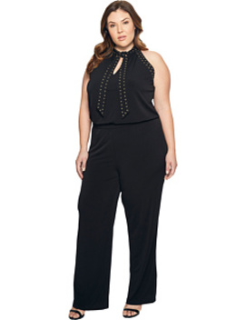 Plus Size Solid Stud Tie Jumpsuit by Michael Michael Kors