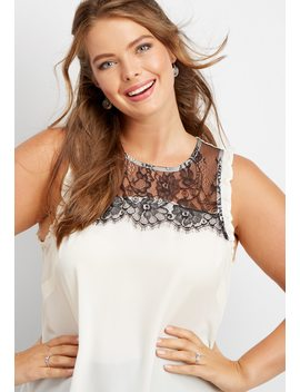 Plus Size Contrast Lace Tank by Maurices