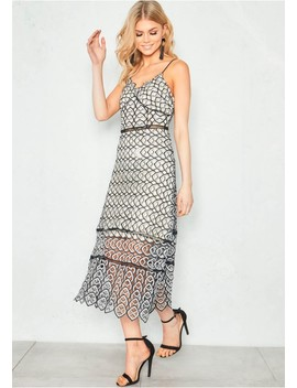 Kate Black Crochet Lace Spaghetti Strap Midi Dress by Missy Empire