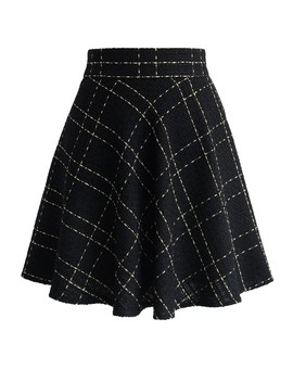 Black Tweed Skater Skirt In Check by Chicwish