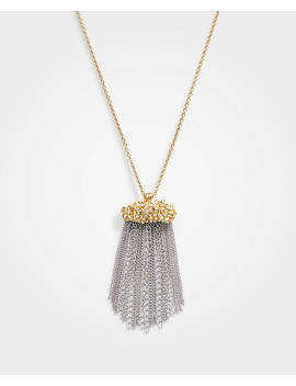 Floral Tassel Pendant Necklace by Ann Taylor