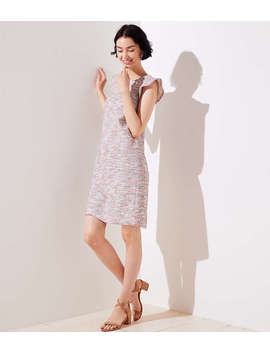 Bouclé Flutter Shift Dress by Loft