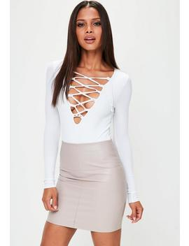 Faux Leather Mini Skirt Grey by Missguided