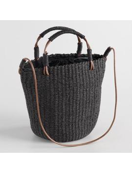 Black Straw Crossbody Bucket Bag by World Market