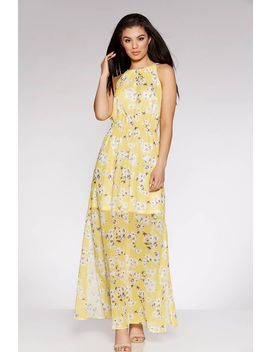 Yellow And White  High Neck Floral Maxi Dress by Quiz