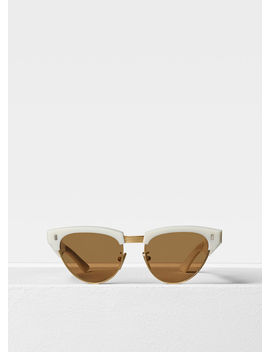 Round Sunglasses In Metal And Acetate by Celine
