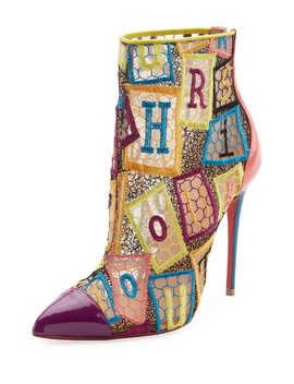 Gipsybootie Letter Blocks Red Sole Ankle Boot by Christian Louboutin