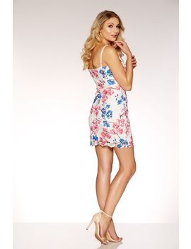 Blue And Pink Floral Crochet Bodycon Dress by Quiz