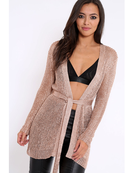 Rose Gold Metallic Knit Cardigan   Celina by Rebellious Fashion