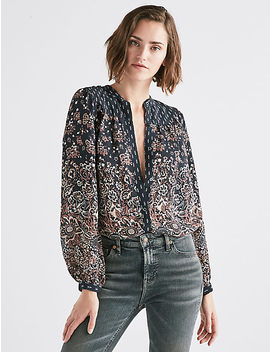 Mixed Print Yoke Peasant Top by Lucky Brand