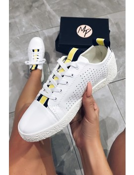 Gigi White & Yellow Ribbon Lace Up Trainers by Misspap