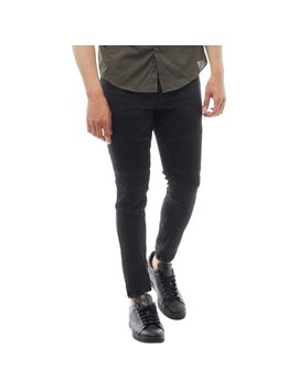 Brave Soul Mens Thomas Skinny Fit Biker Jeans Black by Mand M Direct