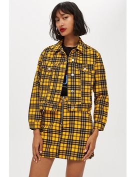 Yellow Check Denim Jacket by Topshop