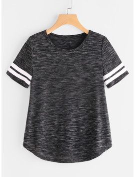 Space Dye Striped Sleeve Curved Hem Tee by Shein