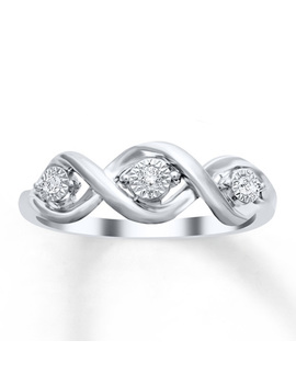 Three Stone Diamond Ring 1/20 Ct Tw Round Cut Sterling Silver by Kay Jewelers