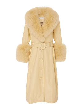 Foxy Fur Trimmed Leather Coat by Saks Potts