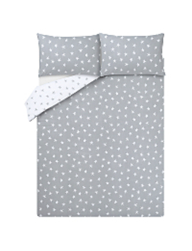 Star Print Soft & Cosy Brushed Cotton Reversible Duvet Set by Asda