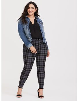 Slim Fix Pixie Pant   Grey Plaid by Torrid