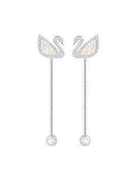 Iconic Swan Pierced Earrings, White, Rhodium Plating by Swarovski Crystal