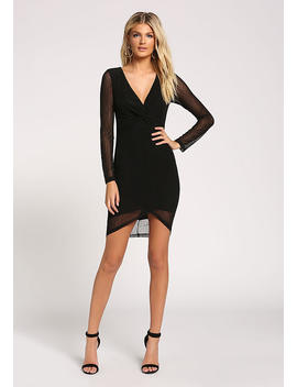 Black Twisted Mesh Bodycon Dress by Love Culture