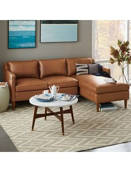 Hamilton 2 Piece Leather Chaise Sectional by West Elm