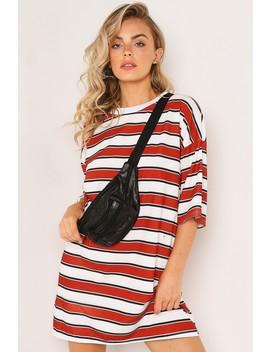White Stripe Oversized T Shirt Dress by Lasula
