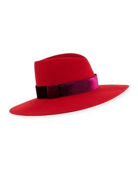 Harlowe Wool Panama Hat W/ Velvet Ribbon by Eugenia Kim