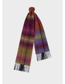Men's Dark Red Fading Stripe Wool Blend Scarf by Paul Smith