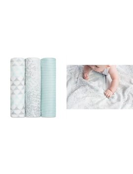 Silky Soft Swaddles 3pk, Metallic Skylight Birch by Aden+Anais