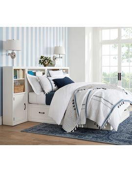 Stratton Storage Headboard & Storage Bed With Baskets, Full/Queen, Pure White by Pottery Barn