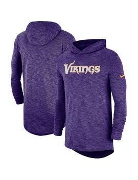 Minnesota Vikings Nike Sideline Slub Performance Hooded Long Sleeve T Shirt   Purple by Fanatics