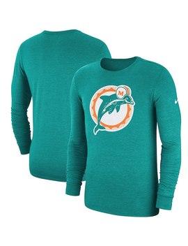 Miami Dolphins Nike Fan Gear Crackle Historic Tri Blend Long Sleeve T Shirt   Aqua by Nike
