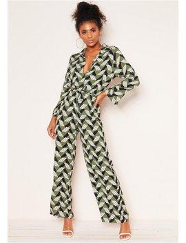 Antonia Khaki Geometric Print Jumpsuit by Missy Empire