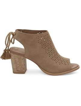 Toffee Perforated Suede Women's Elba Booties by Toms