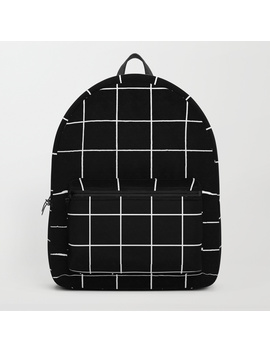 Grid Simple Line Black Minimalistic Backpack by