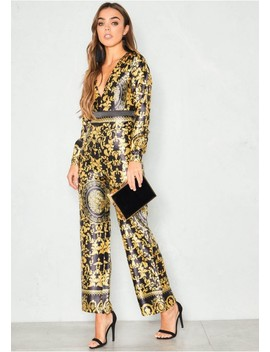Monica Black Gold Scarf Print Satin Jumpsuit by Missy Empire