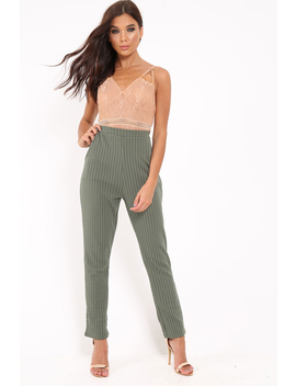 Green Pinstripe Tapered Trousers   Paighton by Rebellious Fashion