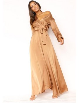 Faheema Mocha Plunge Belted Maxi Dress by Missy Empire