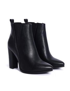 Black Pointed Toe Block Heel Elastic Panel Ankle Boots by Koi Footwear