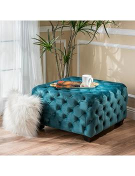 Provence Tufted New Velvet Fabric Ottoman Pouf by Gdf Studio