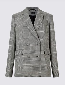 Checked Double Breasted Blazer by Marks & Spencer