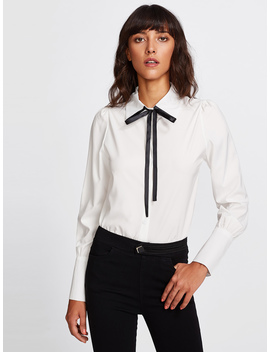 Self Tie Bow Shirt by Romwe