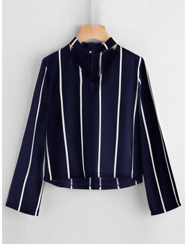 V Cut Striped Zip Back Blouse by Romwe