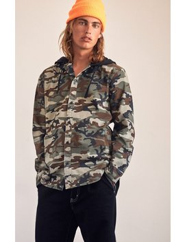Camo Hooded Long Sleeve Button Up Shirt by Pac Sun