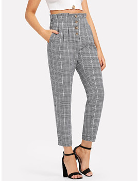 Single Breasted Frill Trim Plaid Pants by Romwe