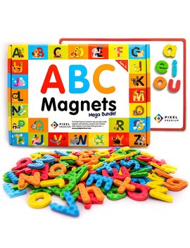Pixel Premium Abc Magnets For Kids Gift Set   142 Magnetic Letters For Fridge, Dry Erase Magnetic Board And Free E Book With 40+ Learning & Spelling Games   Best Alphabet Magnets For Refrigerator Fun! by Pixel Premium