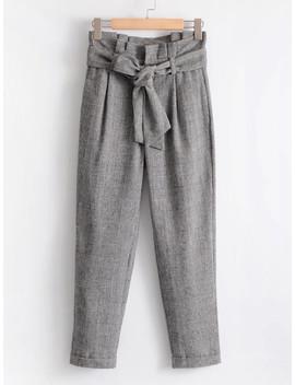Frill Waist Self Tie Plaid Pants by Romwe