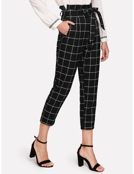 Self Belted Frilled Waist Grid Pants by Romwe